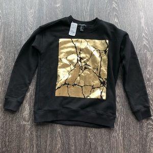 Forever 21 Black and Gold Foil Sweatshirt